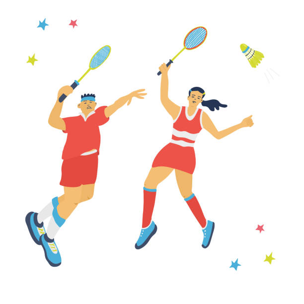 badminton mixed doubles game. - badminton smash stock illustrations