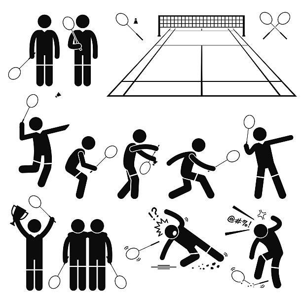 badminton player actions poses stick figure pictogram icons - badminton smash stock illustrations