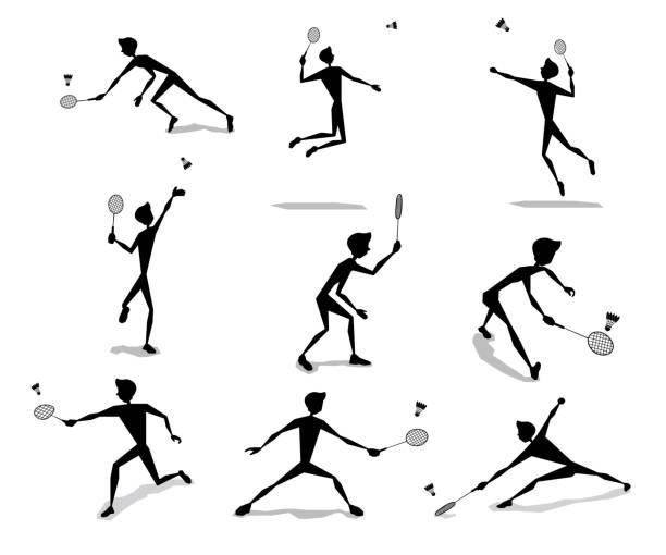 badminton player activity silhouette cartoon set design - badminton smash stock illustrations