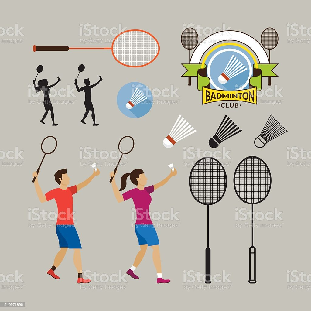 Badminton Player and Graphic Elements vector art illustration