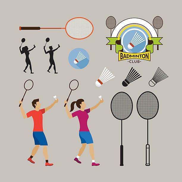 badminton und grafische elemente - badminton stock-grafiken, -clipart, -cartoons und -symbole