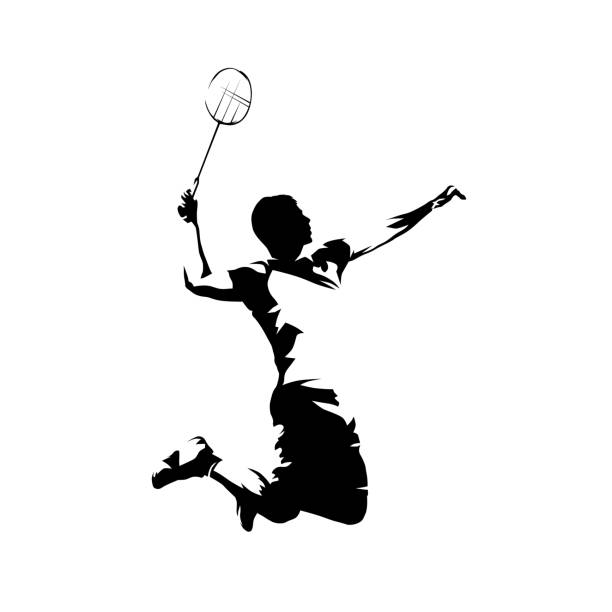 Badminton player, isolated vector silhouette, ink drawing Badminton player, isolated vector silhouette, ink drawing shuttlecock stock illustrations