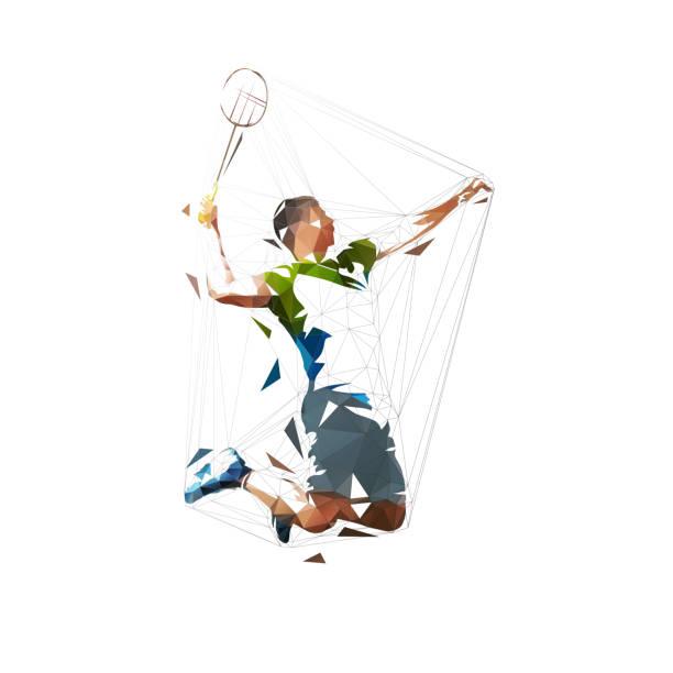 badminton player, low polygonal isolated vector illustration, abstract geometric drawing - badminton smash stock illustrations
