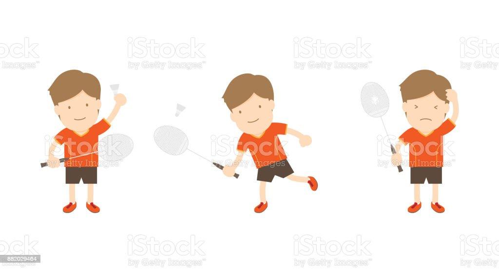 Badminton player man action set isolated on white background vector art illustration