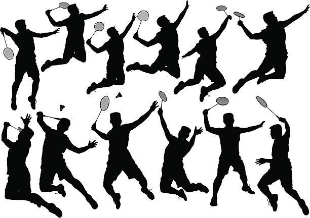 badminton player - badminton stock-grafiken, -clipart, -cartoons und -symbole