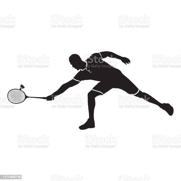 ラケットとシャトルコック黒のシルエットベクトルイラストを持つバドミントン選手 アイコンのベクターアート素材や画像を多数ご用意 Istock