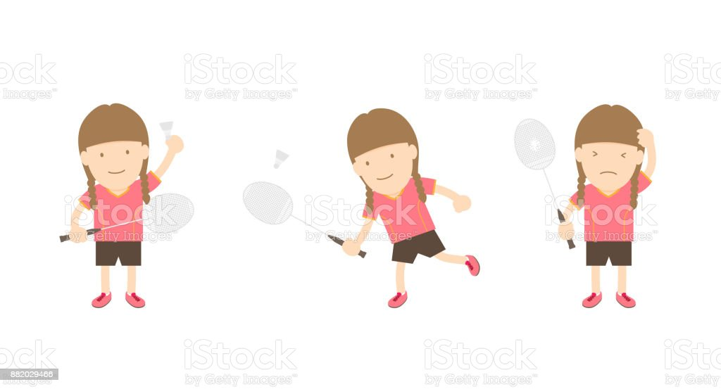 Badminton player woman action set isolated on white background vector art illustration