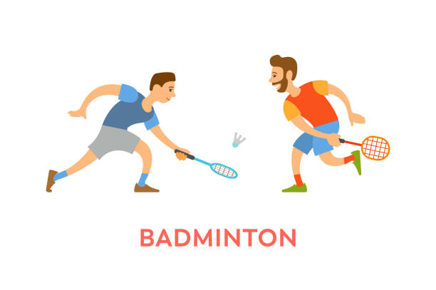 badminton players men with rackets playing game - badminton smash stock illustrations