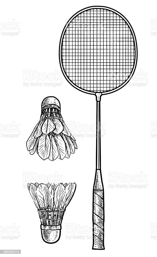 Illustration de raquette et balle badminton dessin gravure - Raquette dessin ...