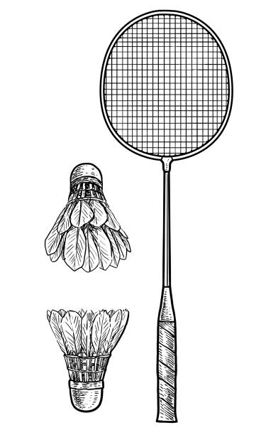 Badminton racket and ball illustration, drawing, engraving, ink, line art, vector vector art illustration