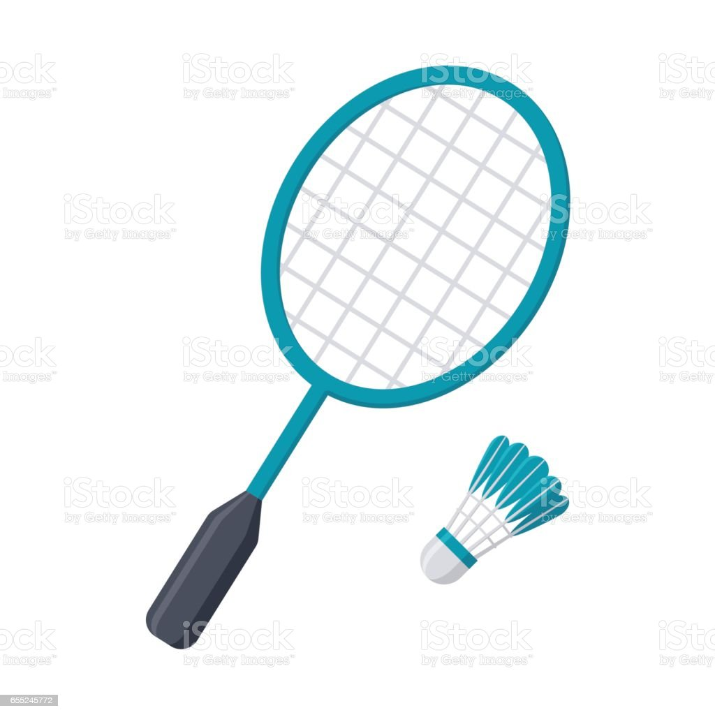 Badminton Racket and Shuttlecock vector art illustration