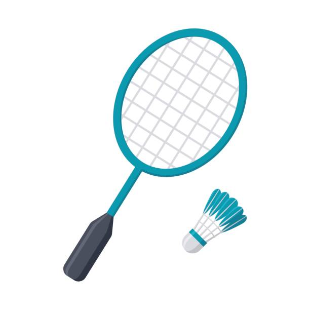 Badminton Racket and Shuttlecock Badminton racket and shuttlecock, vector illustration in flat style racket stock illustrations