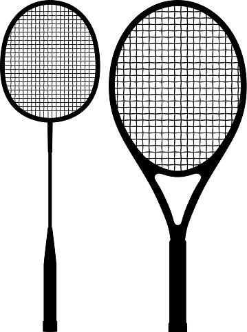 Badminton Racket and Tennis Racket Silhouettes