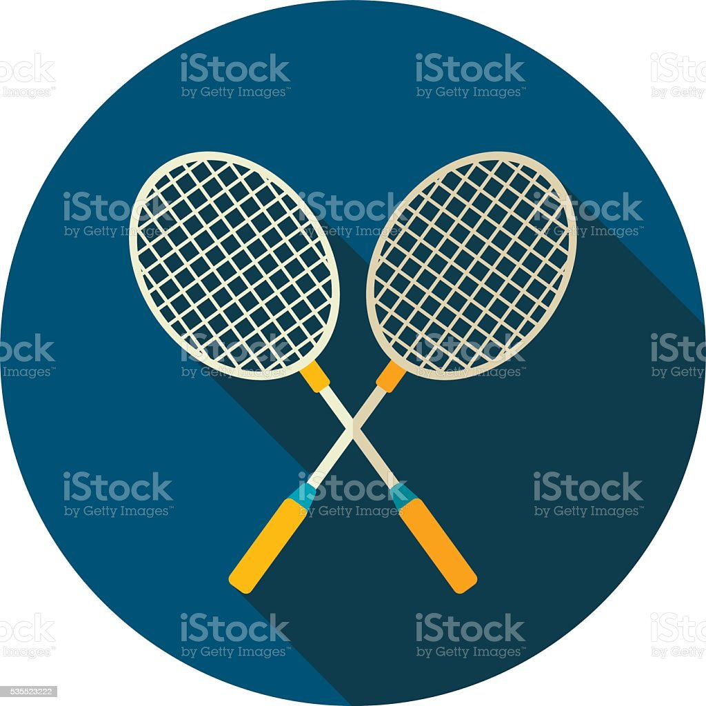 Badminton Racket flat icon. Summer. Vacation vector art illustration