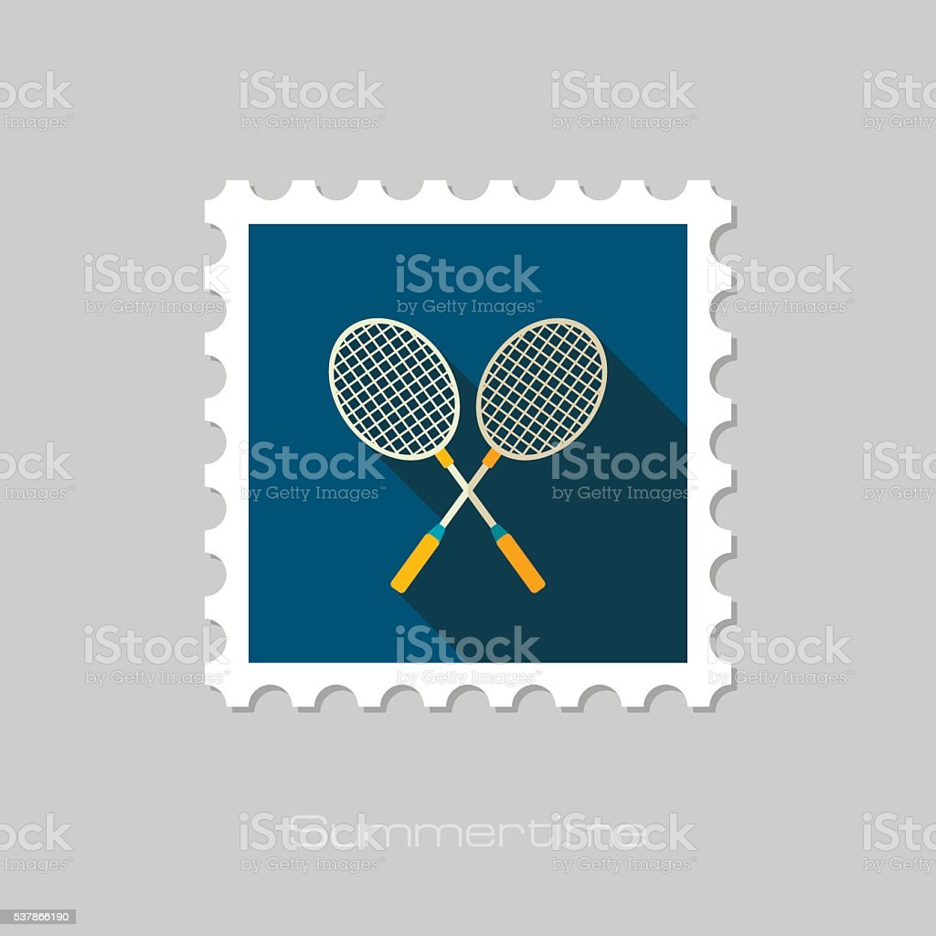 Badminton Racket flat stamp. Summer. Vacation vector art illustration