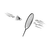 Badminton racket hitting moment over shuttlecock with the effect of motion, sports vector illustration.