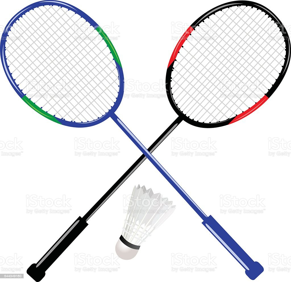 Badminton Racket With Shuttlecock vector art illustration