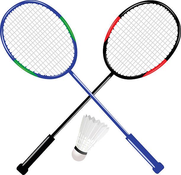 badmintonschläger mit federball - badminton stock-grafiken, -clipart, -cartoons und -symbole