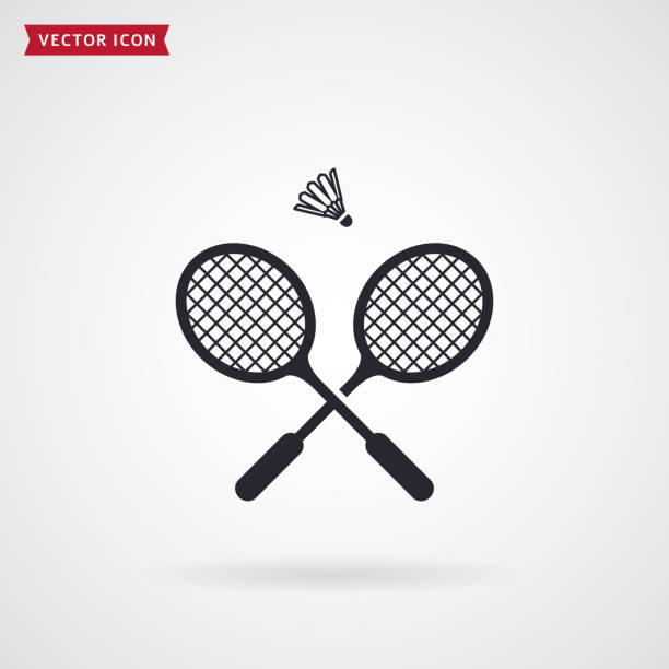 Badminton rackets and shuttlecock. Vector icon. Badminton rackets and shuttlecock. Vector icon isolated on white background. Sport equipment theme. racket stock illustrations