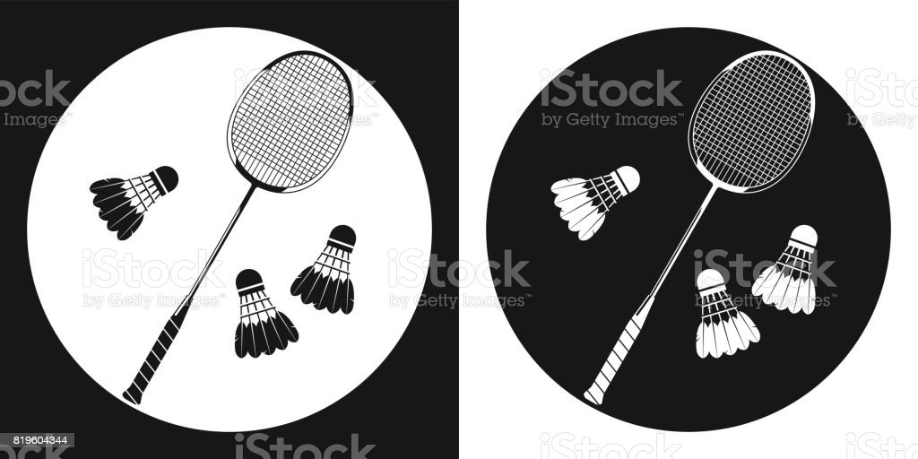Badminton racquet icon. Silhouette tennis racquet and three badminton shuttlecock on a black and white background. Sports Equipment. Vector Illustration. vector art illustration