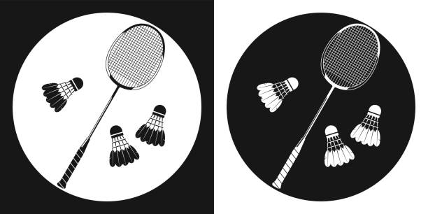 Badminton racquet icon. Silhouette tennis racquet and three badminton shuttlecock on a black and white background. Sports Equipment. Vector Illustration. Badminton racquet icon. Silhouette tennis racquet and three badminton shuttlecock on a black and white background. Sports Equipment. Vector Illustration shuttlecock stock illustrations