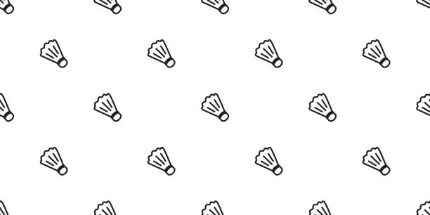 Badminton Seamless Shuttlecock vector pattern tennis ball tile background scarf isolated wallpaper graphic Badminton Seamless Shuttlecock vector pattern tennis ball tile background scarf isolated wallpaper graphic shuttlecock stock illustrations