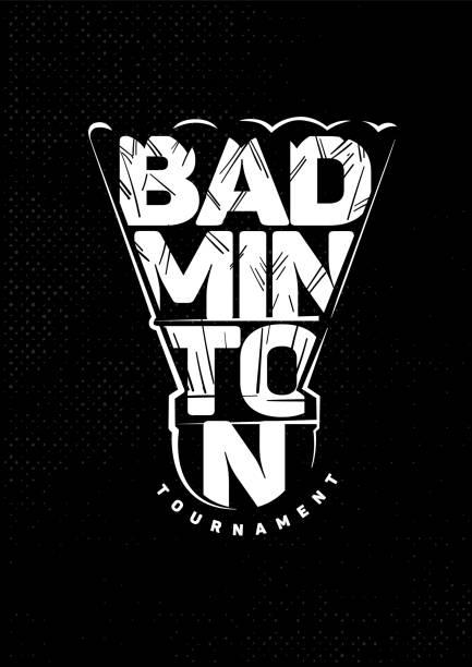 Badminton shuttlecock. Emblem Badminton shuttlecock. Lettering black and white emblem shuttlecock stock illustrations