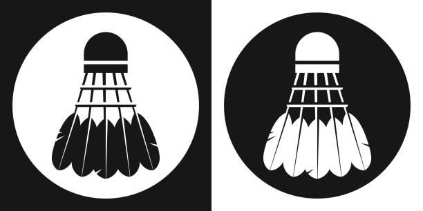 Badminton shuttlecock icon. Silhouette badminton shuttlecock on a black and white background. Sports Equipment. Vector Illustration. - ilustração de arte vetorial