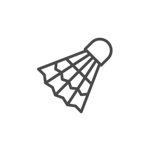 Badminton shuttlecock line outline icon Badminton shuttlecock line outline icon isolated on white. Element to play team game. Triangle shuttle for tennis, competition activity. Vector illustration shuttlecock stock illustrations