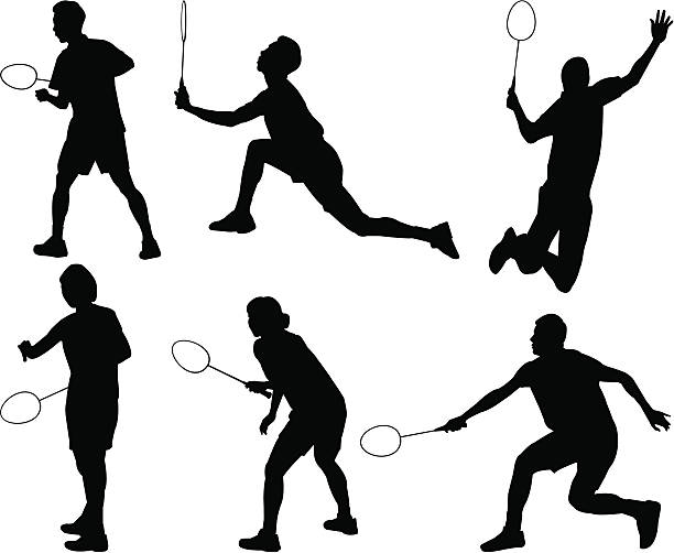 badminton-silhouette - badminton stock-grafiken, -clipart, -cartoons und -symbole