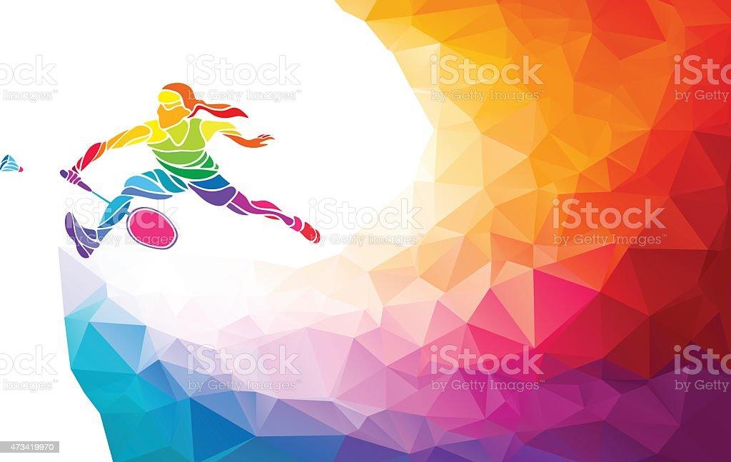 Badminton sport invitation affiche ou un dépliant arrière-plan, joueuse - Illustration vectorielle