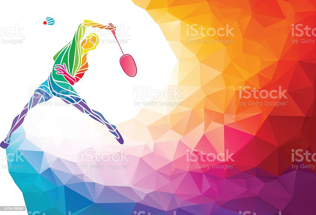 Badminton sport invitation poster or flyer background in polygon style vector art illustration