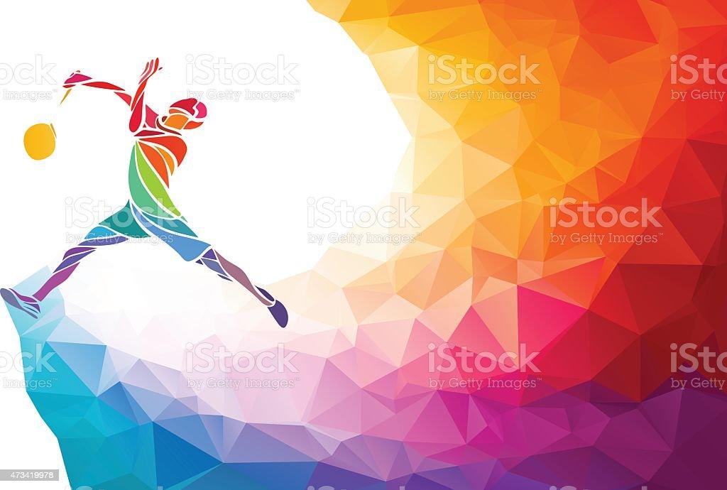 Badminton sport invitation affiche ou flyer fond de Polygone style - Illustration vectorielle
