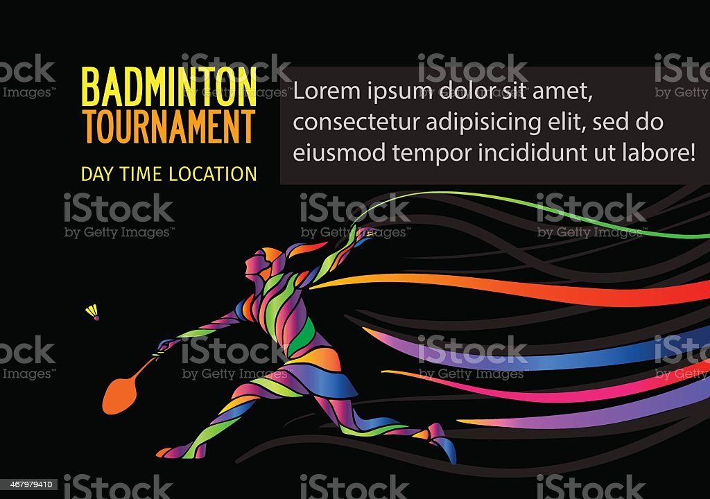 Badminton sport invitation poster or flyer background vector art illustration