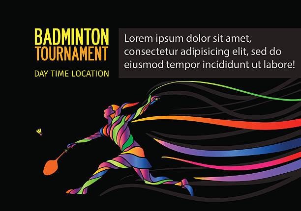 badminton sport einladung poster oder flyer hintergrund - badminton stock-grafiken, -clipart, -cartoons und -symbole
