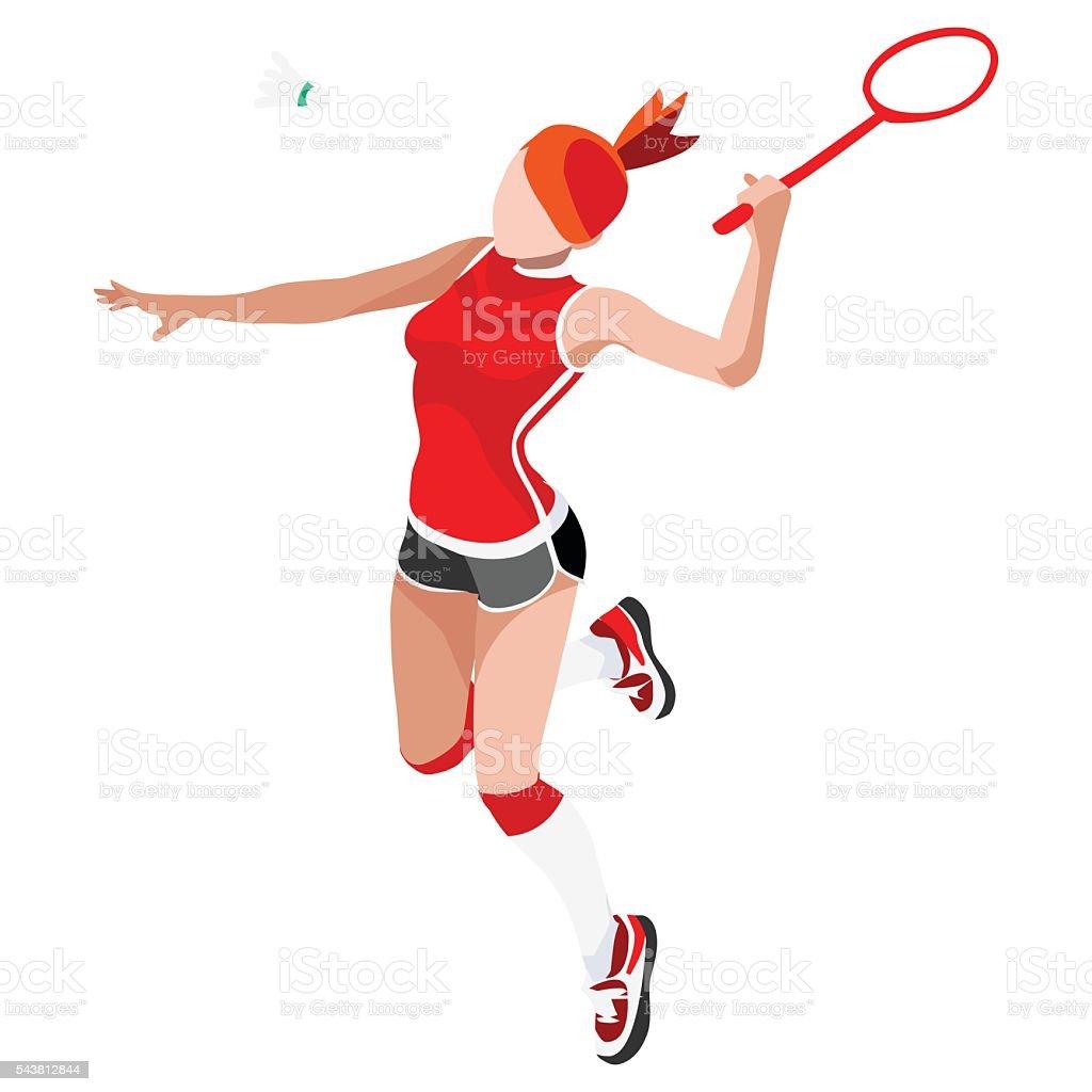 Badminton  Sports Isometric 3D Vector Illustration vector art illustration