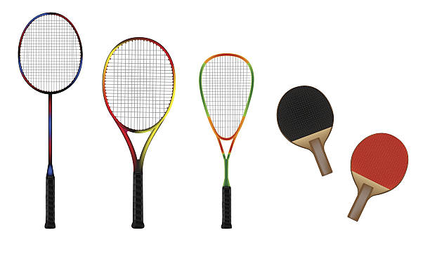 Badminton, tennis, squash and table-tennis equipment vector illustration Badminton, tennis, squash and table-tennis equipment color vector illustration racket stock illustrations