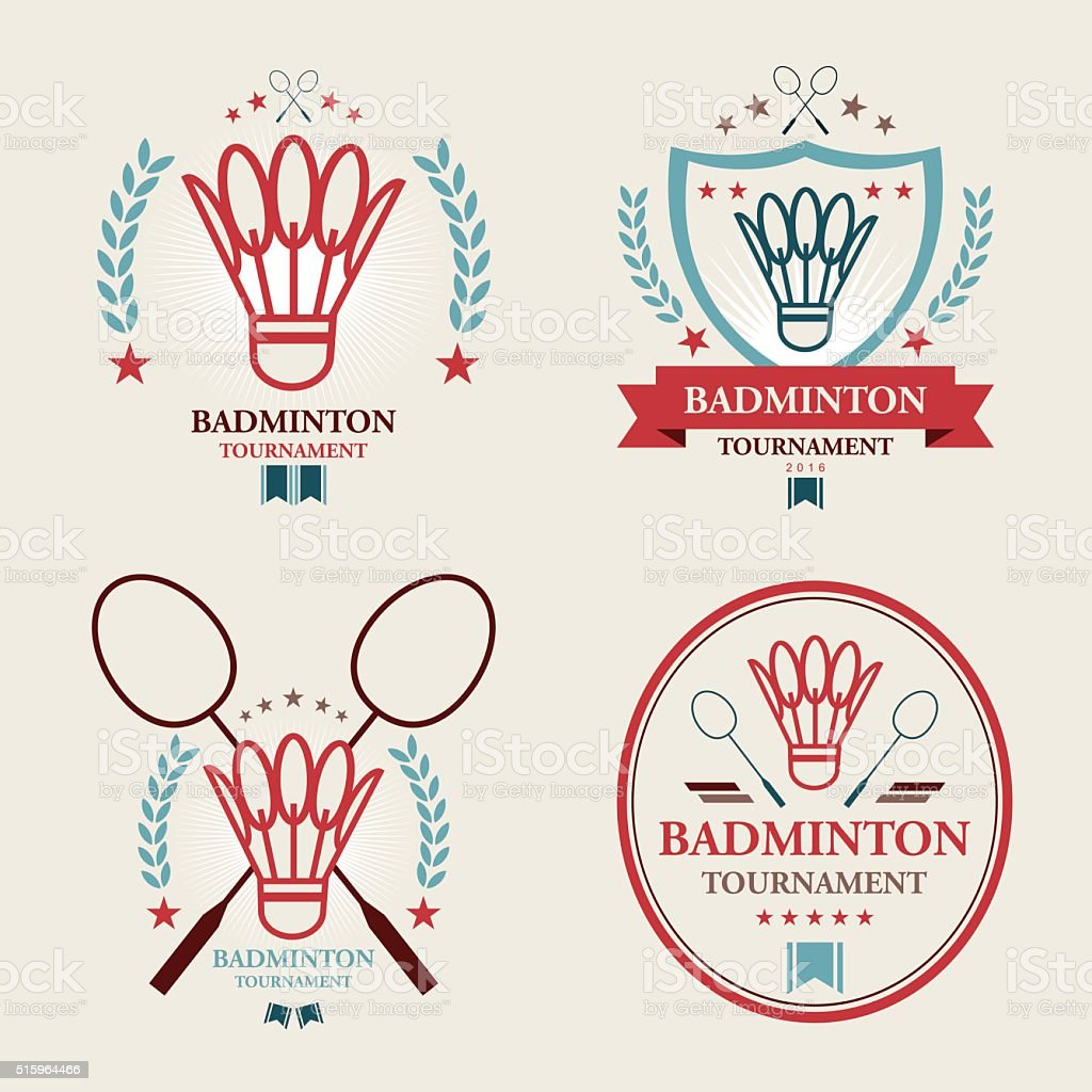 Badminton tournament Emblem set Vector of badminton tournament emblem set with shuttlecock icon. EPS ai 10 file format. Badminton - Sport stock vector