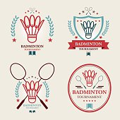Badminton tournament Emblem set