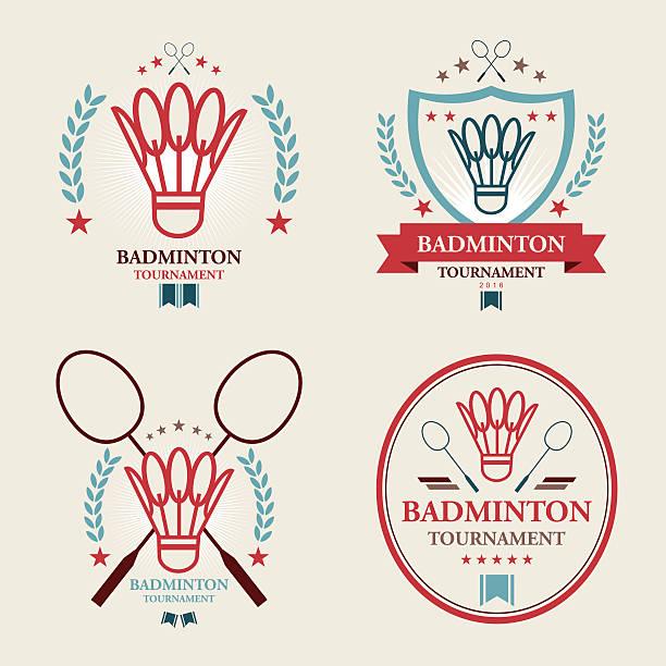 badminton-turnier set emblem - badminton stock-grafiken, -clipart, -cartoons und -symbole