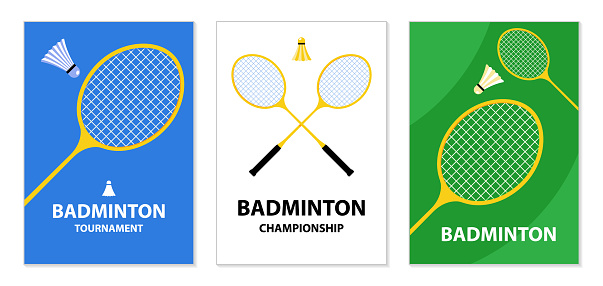 Badminton tournament posters. Badminton rackets and shuttlecock