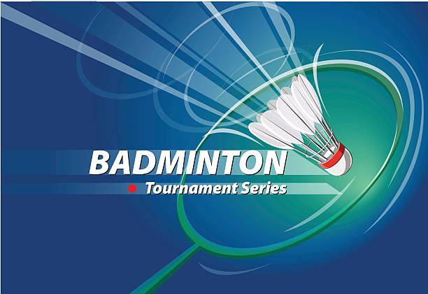 Torneio de Badminton série logótipo do evento - ilustração de arte vetorial