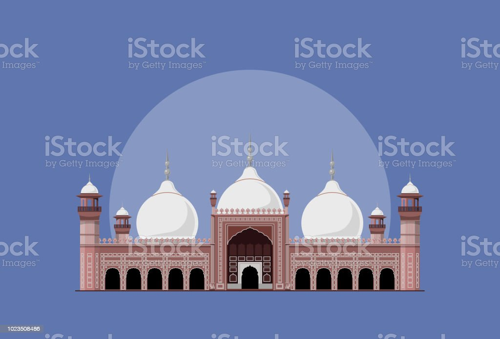 Badshahi Masjid Pakistan Stock Illustration - Download Image
