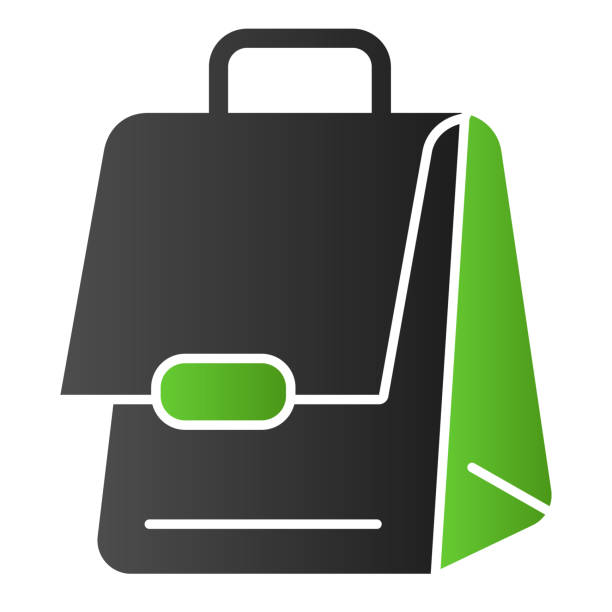 Bag flat icon. Business suitcase, portfolio. School vector design concept, gradient style pictogram on white background. Bag flat icon. Business suitcase, portfolio. School vector design concept, gradient style pictogram on white background adventure clipart stock illustrations