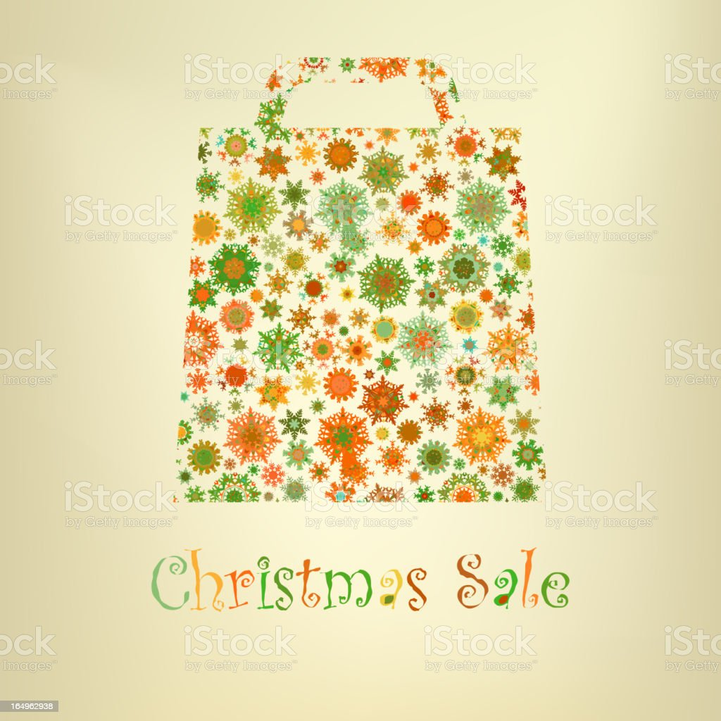 Bag For Shopping With snowflakes. EPS 8 royalty-free stock vector art