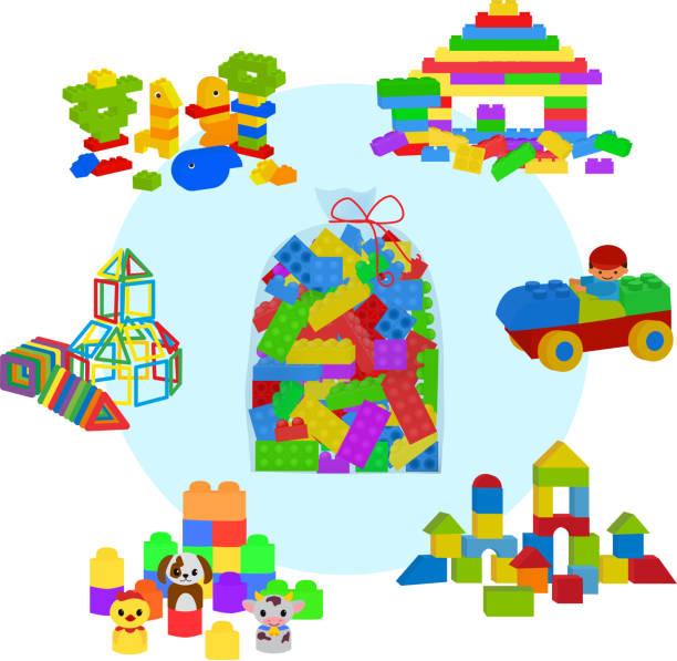 stockillustraties, clipart, cartoons en iconen met tas vol met lego stenen, houten blokjes en magnetische figuren voor preschool childrens. bouw toren, kasteel, huis en locomotief. vector illustratie elementen geïsoleerd op witte achtergrond. - lego