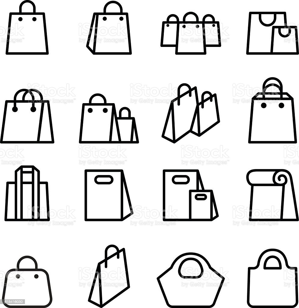 Bag icon set in thin line style vector art illustration