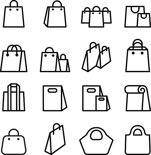 bag icon set in thin line style - kupować stock illustrations