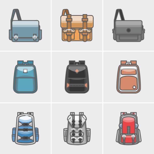 tasche-symbol - lederranzen stock-grafiken, -clipart, -cartoons und -symbole