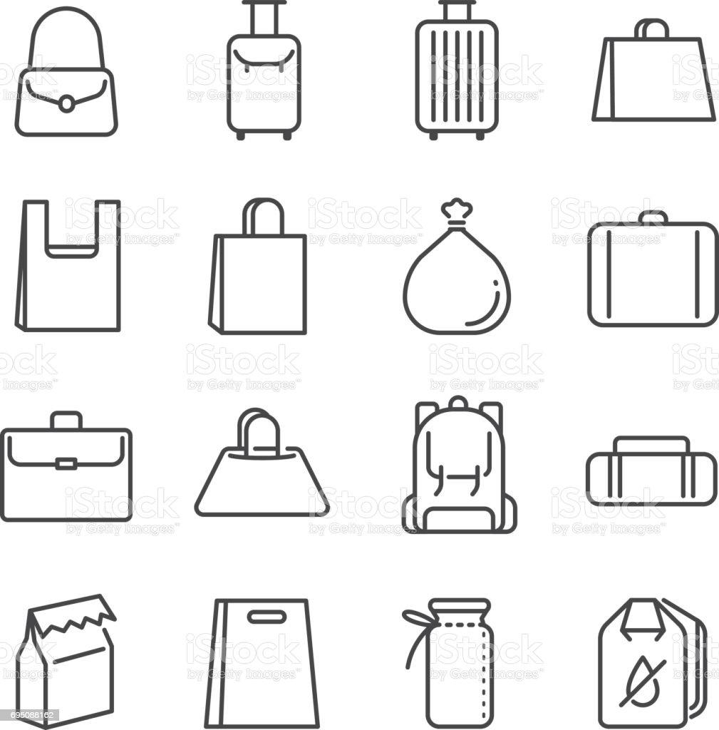 Conjunto de ícones de linha de saco. Incluídos os ícones como saco de plástico, mala, bagagem, bagagem e muito mais. - ilustração de arte em vetor
